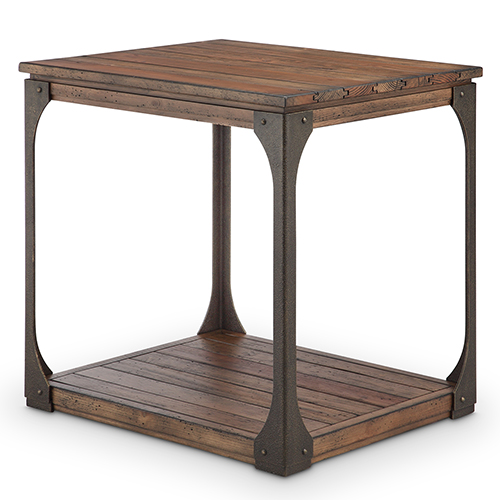 Magnussen Home Montgomery Industrial Reclaimed Wood Rectangular End Table in Bourbon Finish