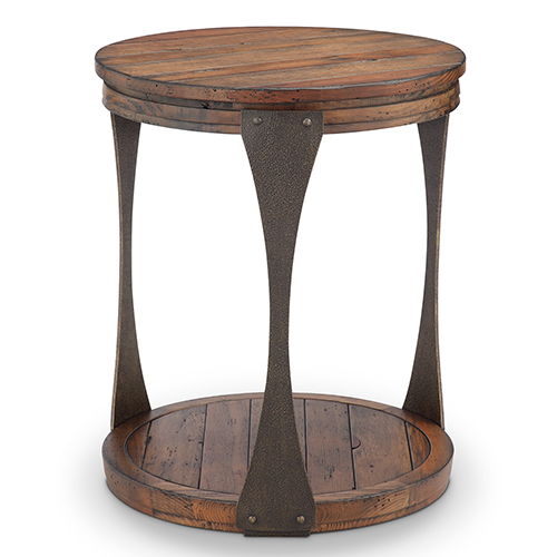 Magnussen Home Montgomery Industrial Reclaimed Wood Round Accent Table in Bourbon Finish