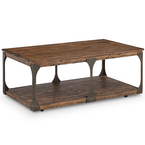 Montgomery Industrial Reclaimed Wood Coffee Table with Casters in Bourbon finish