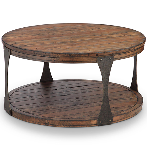 Magnussen Home Montgomery Industrial Reclaimed Wood Round Coffee