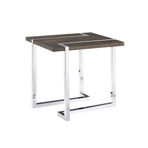 Magnussen Home Kieran Rectangular End Table in Charcoal and Chrome