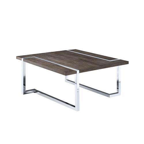 Magnussen Home Kieran Square Cocktail Table in Charcoal and Chrome