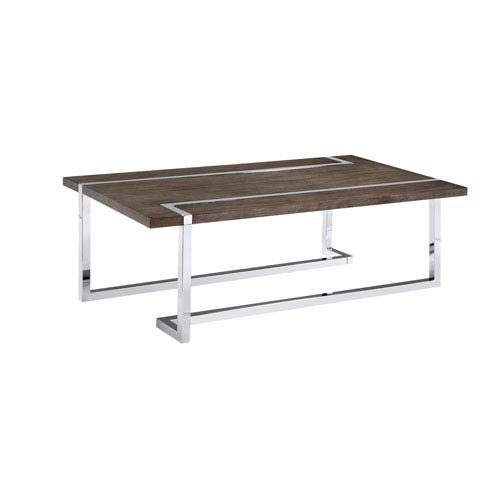 Magnussen Home Kieran Rectangular Cocktail  Table in Charcoal and Chrome