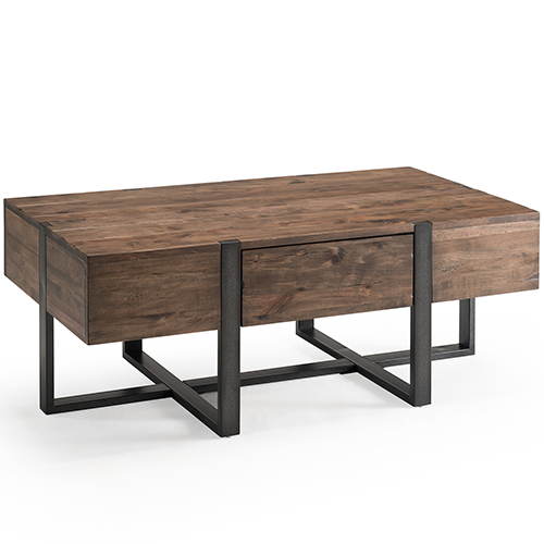 Magnussen Home Prescott Modern Reclaimed Wood Condo Rectangular Coffee Table in Rustic Honey