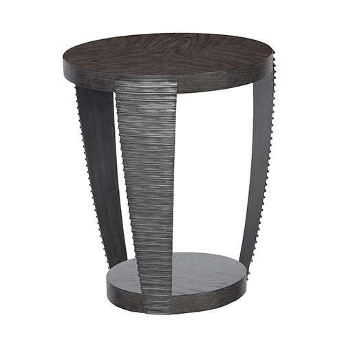 Kendrick Contemporary Chocolate and Aged Pewter Round End Table