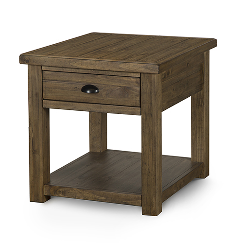 Magnussen Home Stratton Rustic Warm Nutmeg Rectangular End Table with Storage