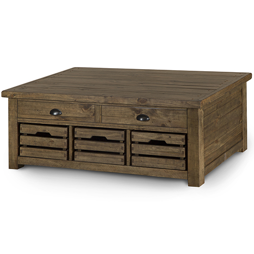 Magnussen Home Stratton Rustic Warm Nutmeg Lift Top Storage Coffee Table With Casters