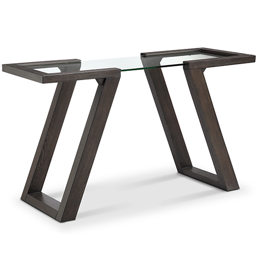 Visby Contemporary Espresso Rectangular Glass Top Entryway Table