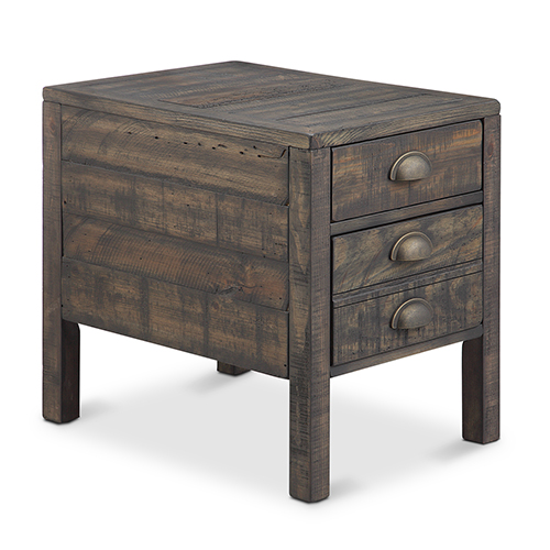 Magnussen Home Vernon Rustic Weathered Bourbon Rectangular End Table with Storage