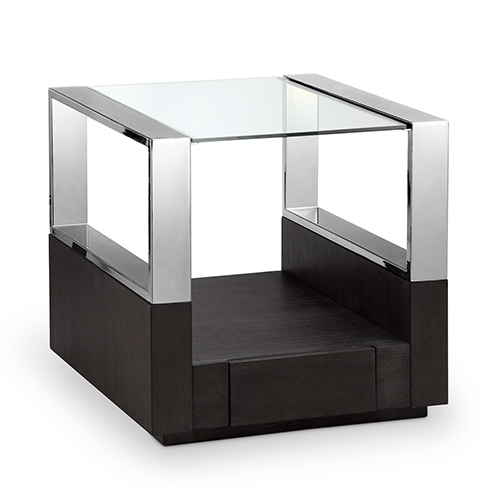 Magnussen Home Revere Contemporary Graphite Glass Top End Table with Storage