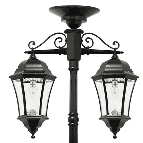 Victorian Black Two-Light LED Solar Lamp Post
