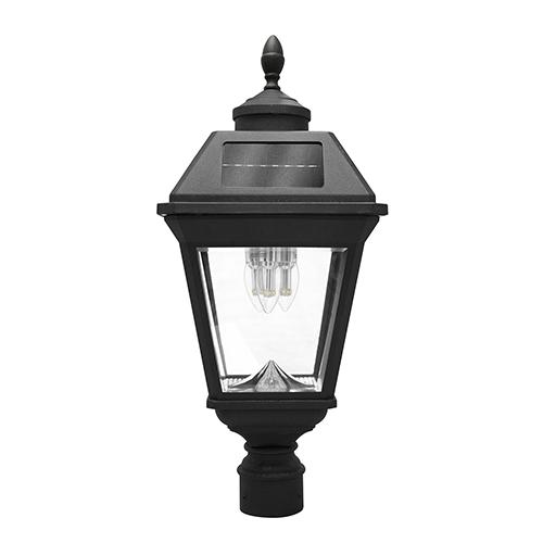 Imperial Black Three-Light LED Solar Post Lamp