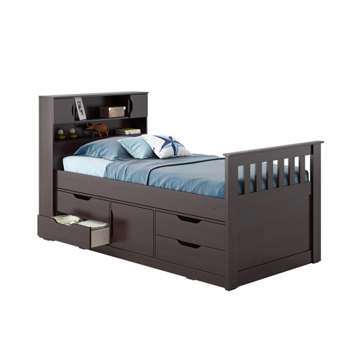 Madison Rich Espresso Twin/Single Captains Bed