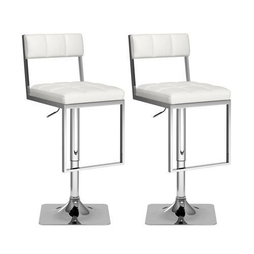 CorLiving Square Tufted Adjustable Barstool in White Leatherette, Set of 2