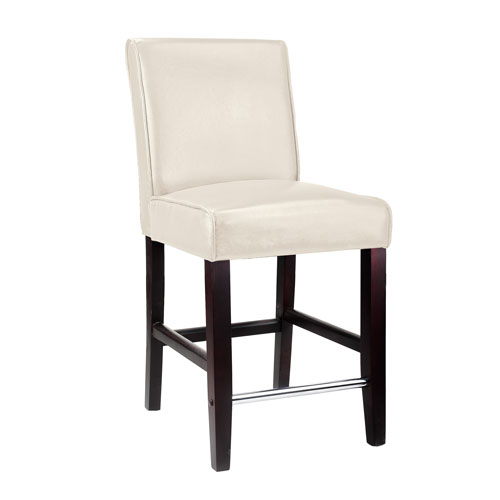 CorLiving Antonio Counter Height Barstool in White Bonded Leather