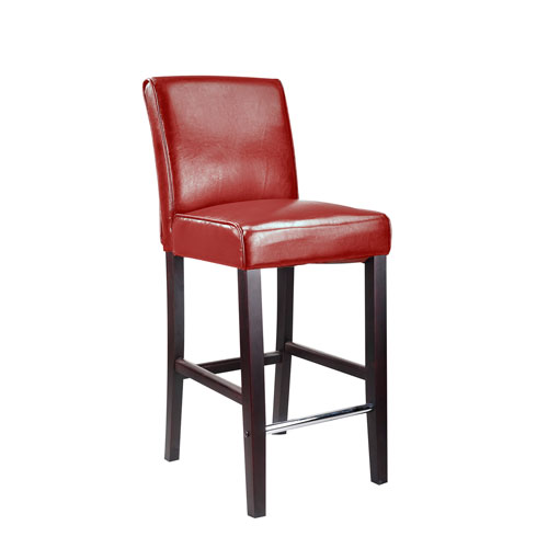 Antonio Bar Height Barstool in Red Bonded Leather