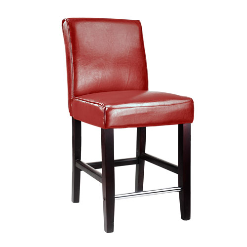 Corliving Antonio Counter Height Barstool In Red Bonded Leather Dad