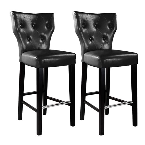 CorLiving Kings Bar Height Barstool in Black Bonded Leather, Set of 2