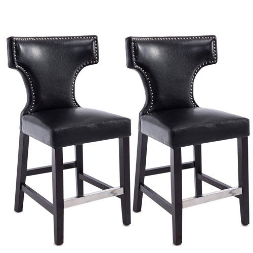 CorLiving Kings Counter Height Barstool in Black with Metal Studs, Set of 2