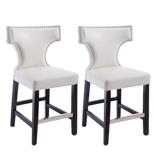 Kings Counter Height Barstool in White with Metal Studs, Set of 2