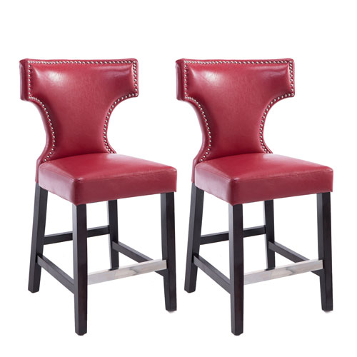 Kings Counter Height Barstool in Red with Metal Studs, Set of 2