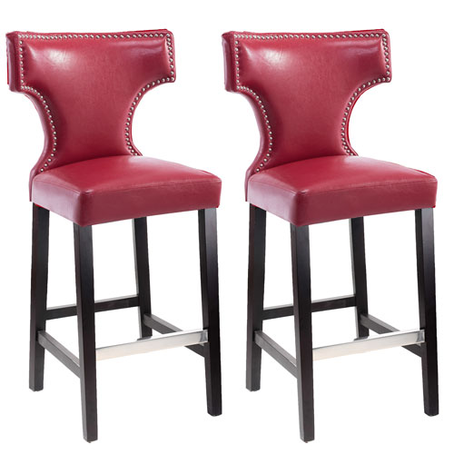 Kings Bar Height Barstool in Red with Metal Studs, Set of 2