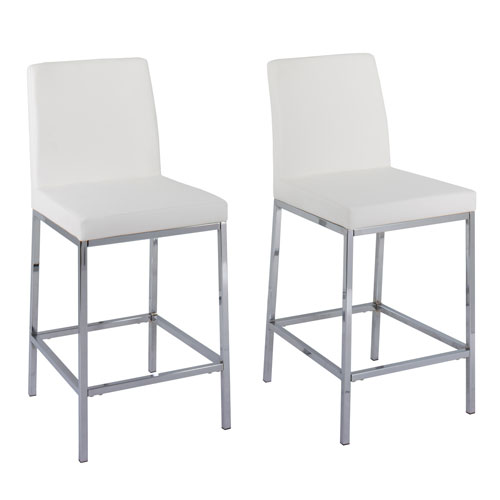 Huntington White Leatherette Count Height Bar Stools with Chrome Legs, Set of 2