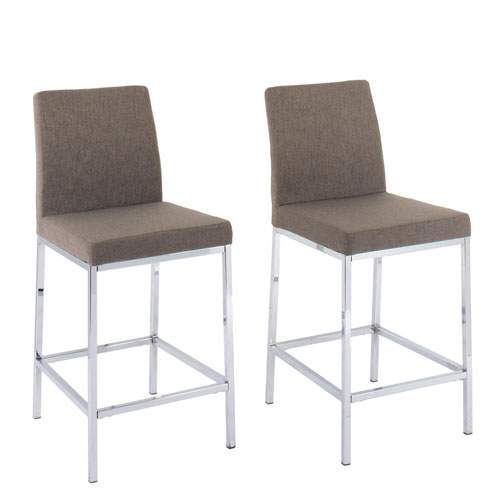 CorLiving Huntington Brown Fabric Counter Height Bar Stools with Chrome Legs, Set of 2