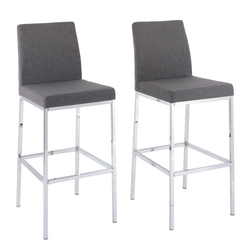 Corliving Huntington Grey Fabric Bar Height Stools With Chrome Legs Set Of 2