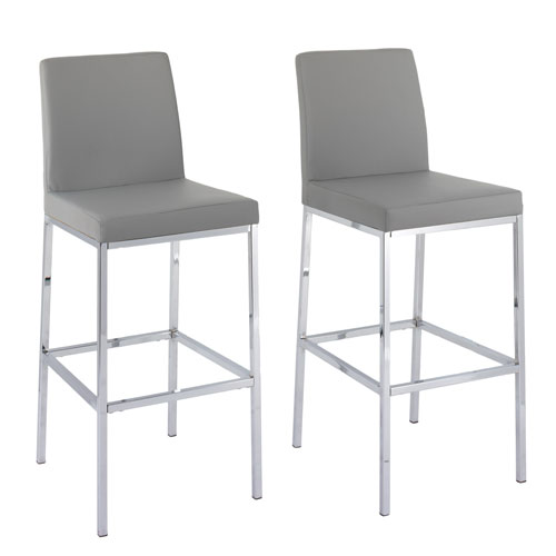CorLiving Huntington Grey Leatherette Bar Height Stools with Chrome Legs, Set of 2