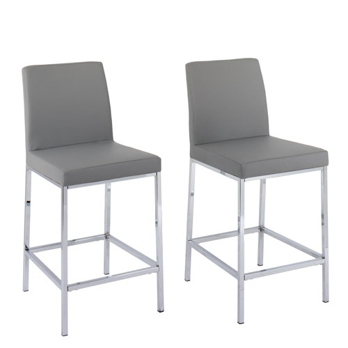 Huntington Grey Leatherette Counter Height Bar Stools with Chrome Legs, Set of 2