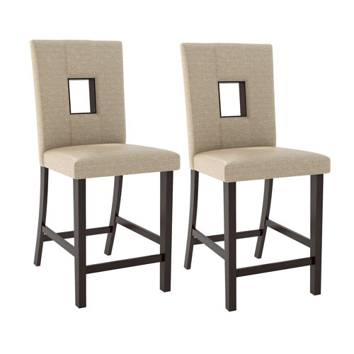 Bistro Counter Height Dining Chairs in Woven Cream Fabric, Set of 2
