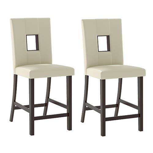 CorLiving Bistro Cappuccino and White Leatherette Dining Chair, Set of Two