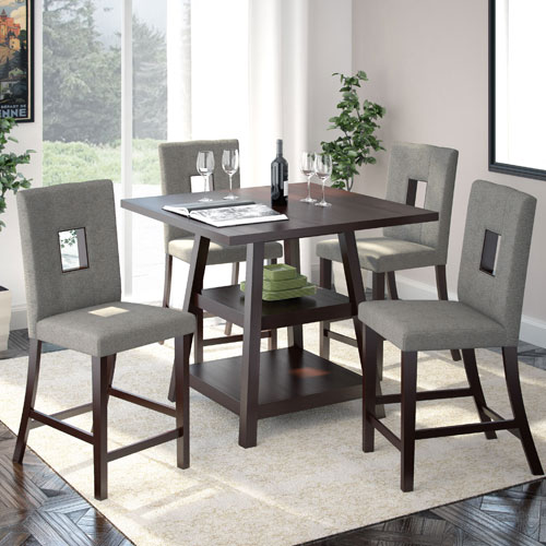 CorLiving Bistro Cappuccino and Pewter Grey Counter Height Five-Piece Dining Set