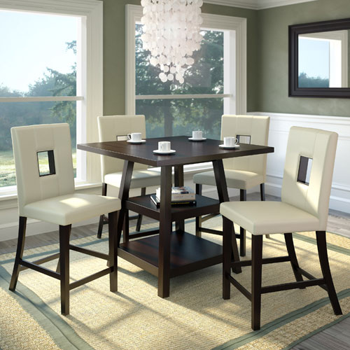 CorLiving Bistro Rich Cappuccino and White Leatherette Counter Height Five-Piece Dining Set