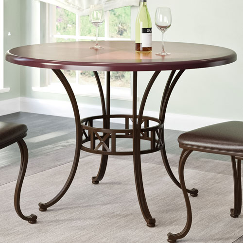 Jericho Metal and Warm Stained Wood Dining Table