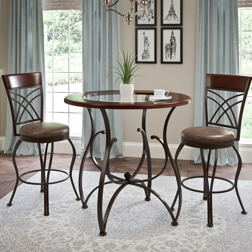 CorLiving Jericho 3 Piece Counter Height Rustic Brown Barstool And ...