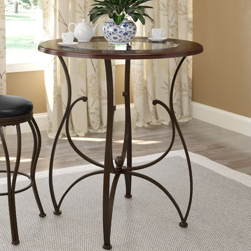 Jericho 42 Inch Bar Height Warm Stained Wood and Glass Dining Table