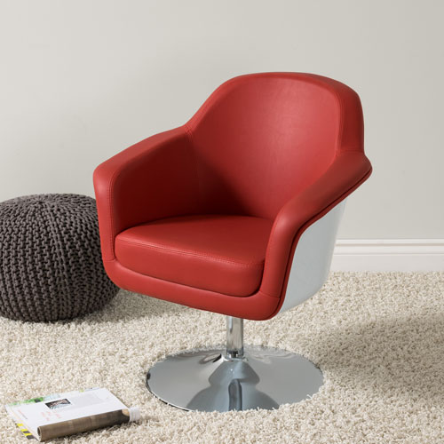 Mod Modern Bonded Leather Accent Chair, Red and White