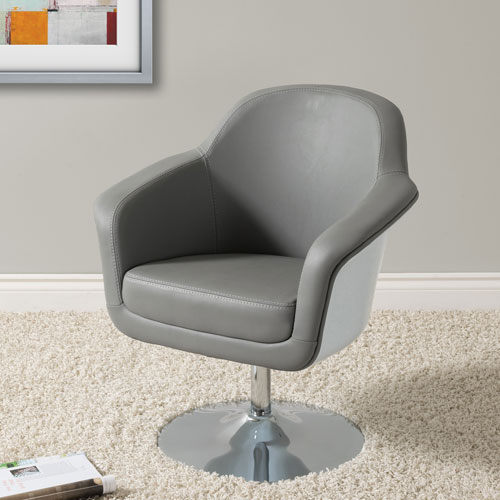 Corliving Mod Modern Bonded Leather Accent Chair Grey And White