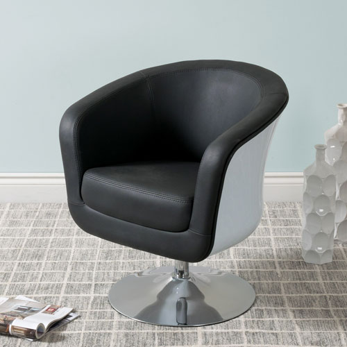 CorLiving Mod Modern Bonded Leather Tub Chair, Black and White