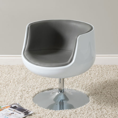 Mod Modern Bonded Leather Barrel Chair, Grey and White