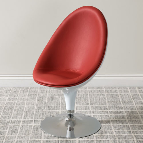 Mod Modern Bonded Leather Ellipse Chair, Red and White