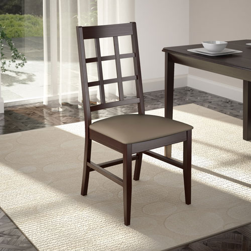 Atwood Cappuccino Stained Dining Chairs with Leatherette Seat, Set of 2