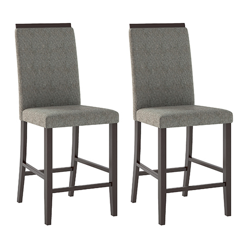 CorLiving Bistro Cappuccino and Pewter Grey Dining Chair, Set of Two