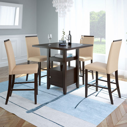 CorLiving Bistro Rich Cappuccino and Desert Sand Counter Height Five-Piece Dining Set