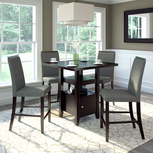 Genial CorLiving Bistro Rich Cappuccino And Pewter Grey Counter Height Five Piece Dining  Set