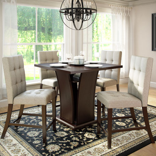 CorLiving Bistro Rich Cappuccino and Tufted Platinum Sage Counter Height Five-Piece Dining Set