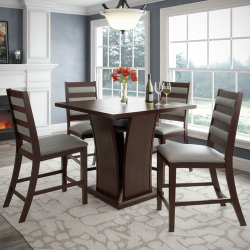 Bistro Cappuccino and Platinum Sage Counter Height Five-Piece Dining Set