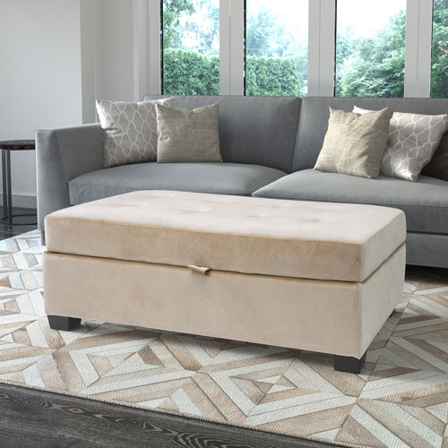 Antonio Storage Ottoman in Cream Velvet